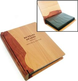laser engraved wood photo albums